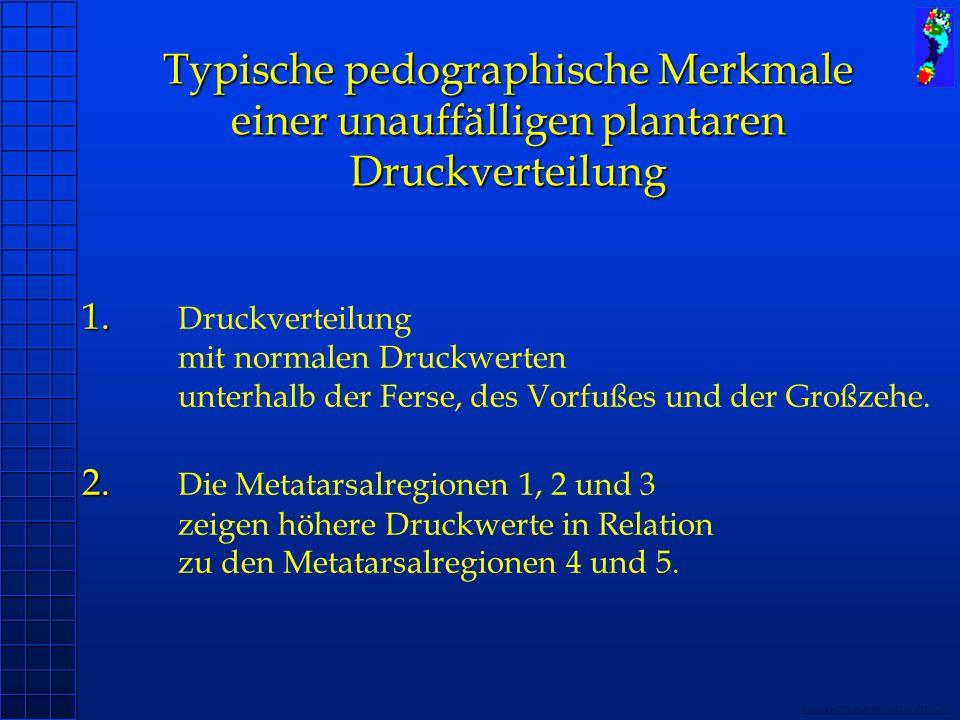 Copyright novel München 2004 1. 2. 1. Druckverteilung mit normalen Druckwerten unterhalb der Ferse, des Vorfußes und der Großzehe. 2. Die Metatarsalre