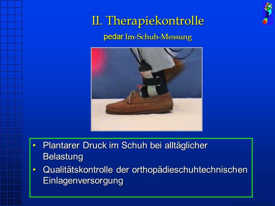 Copyright novel München 2004 II. Therapiekontrolle pedar Im-Schuh-Messung Plantarer Druck im Schuh bei alltäglicher Belastung Qualitätskontrolle der o