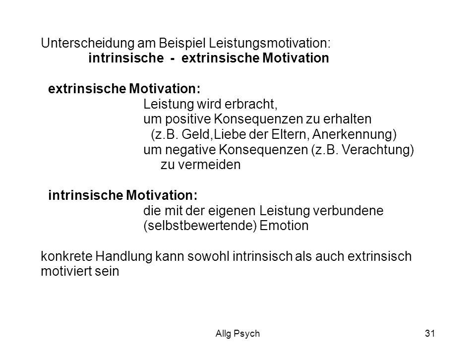 Allg Psych31 Unterscheidung am Beispiel Leistungsmotivation: intrinsische - extrinsische Motivation extrinsische Motivation: Leistung wird erbracht, um positive Konsequenzen zu erhalten (z.B.
