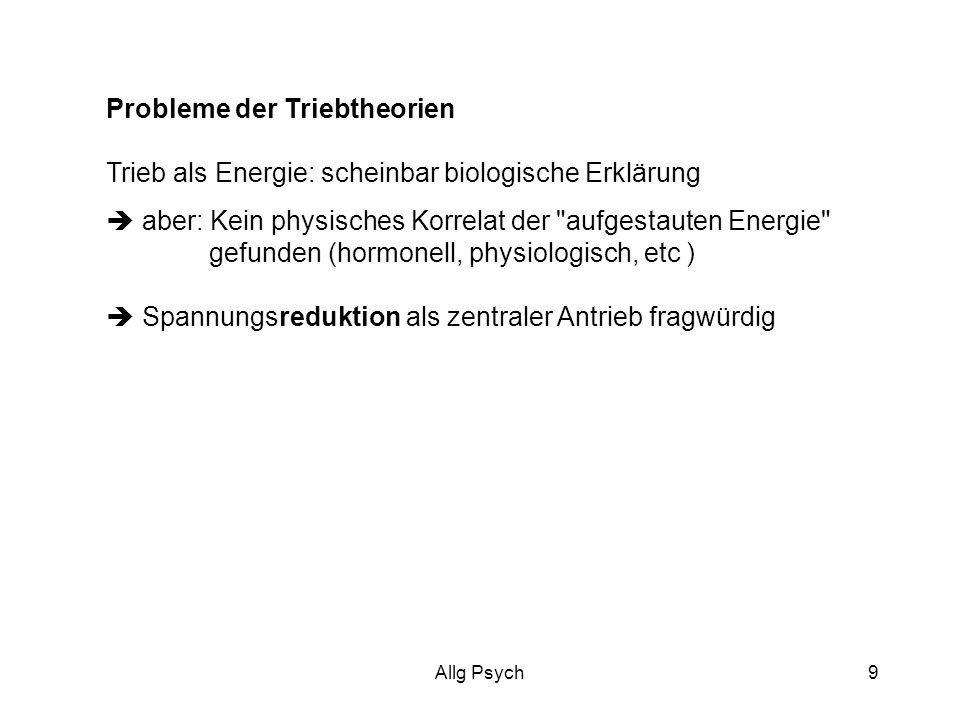 Allg Psych9 Probleme der Triebtheorien Trieb als Energie: scheinbar biologische Erklärung aber: Kein physisches Korrelat der aufgestauten Energie gefunden (hormonell, physiologisch, etc ) Spannungsreduktion als zentraler Antrieb fragwürdig
