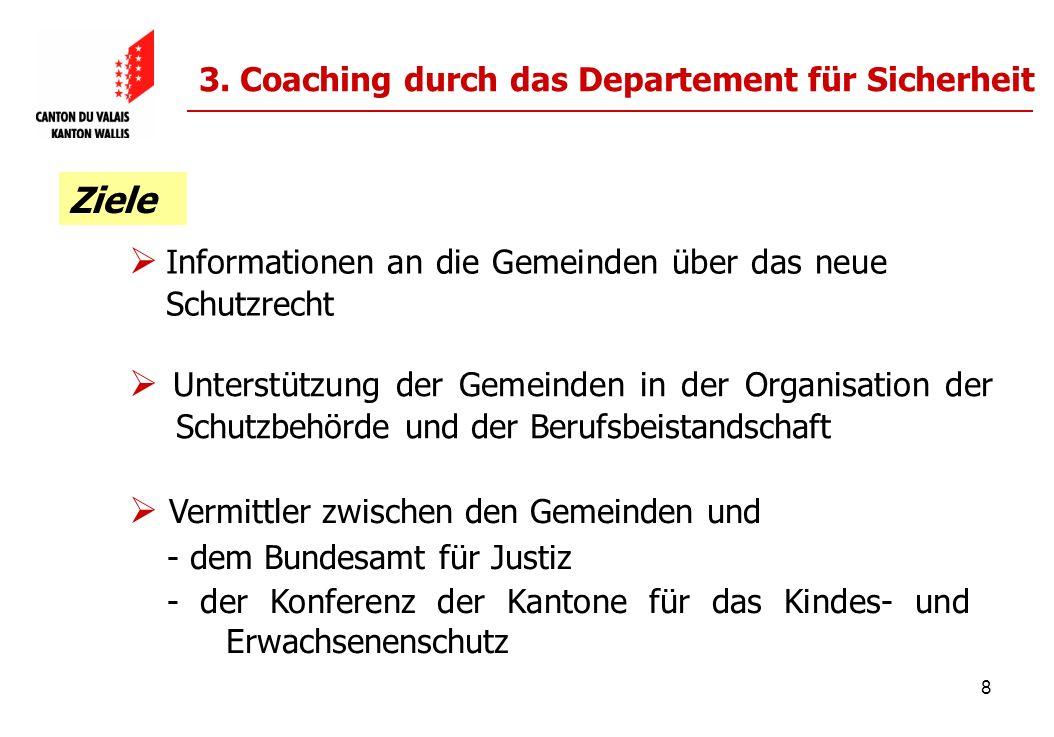 8 3. Coaching durch das Departement für Sicherheit Vermittler zwischen den Gemeinden und - dem Bundesamt für Justiz - der Konferenz der Kantone für da