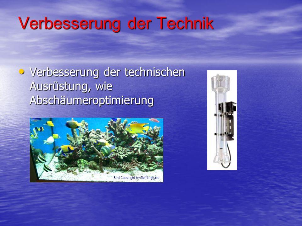 Verbesserung der Technik Verbesserung der technischen Ausrüstung, wie Abschäumeroptimierung Verbesserung der technischen Ausrüstung, wie Abschäumeropt