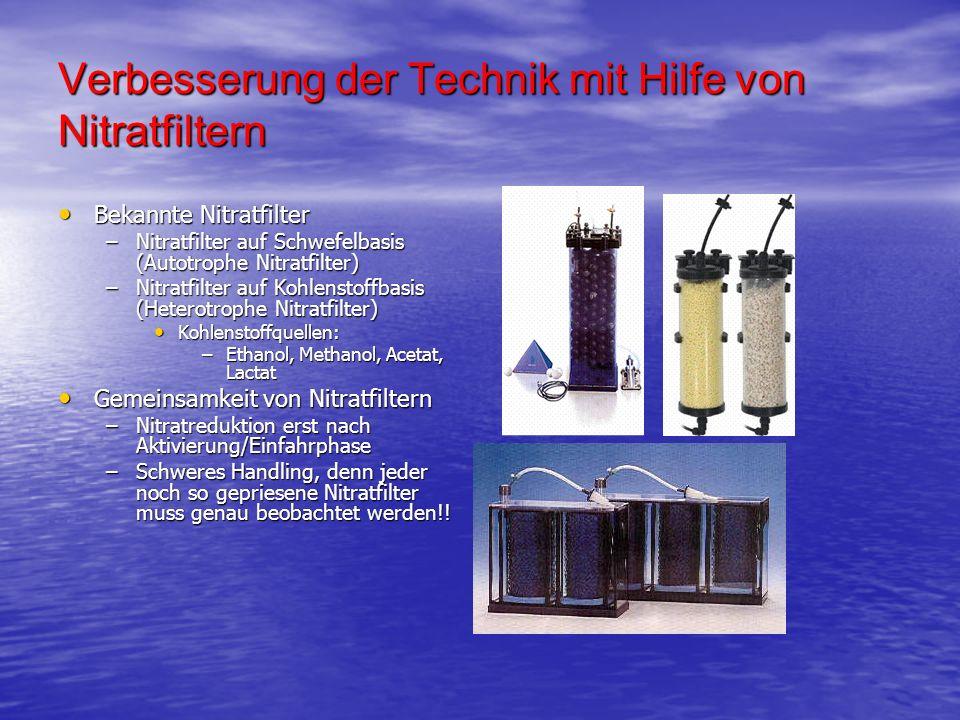 Verbesserung der Technik mit Hilfe von Nitratfiltern Bekannte Nitratfilter Bekannte Nitratfilter –Nitratfilter auf Schwefelbasis (Autotrophe Nitratfil