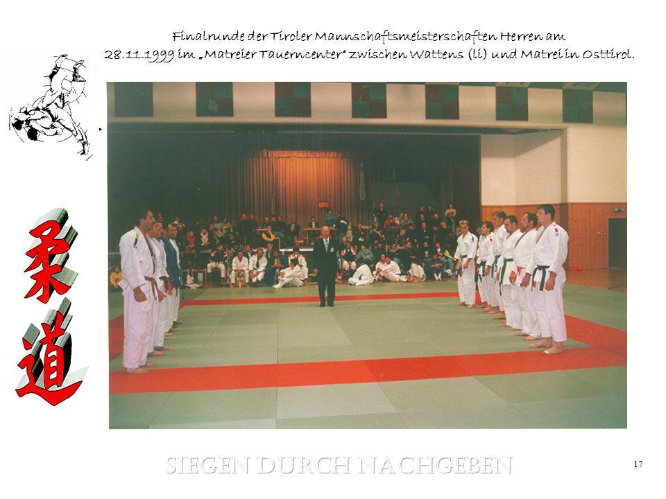 17 Finalrunde der Tiroler Mannschaftsmeisterschaften Herren am 28.11.1999 im Matreier Tauerncenter zwischen Wattens (li) und Matrei in Osttirol.