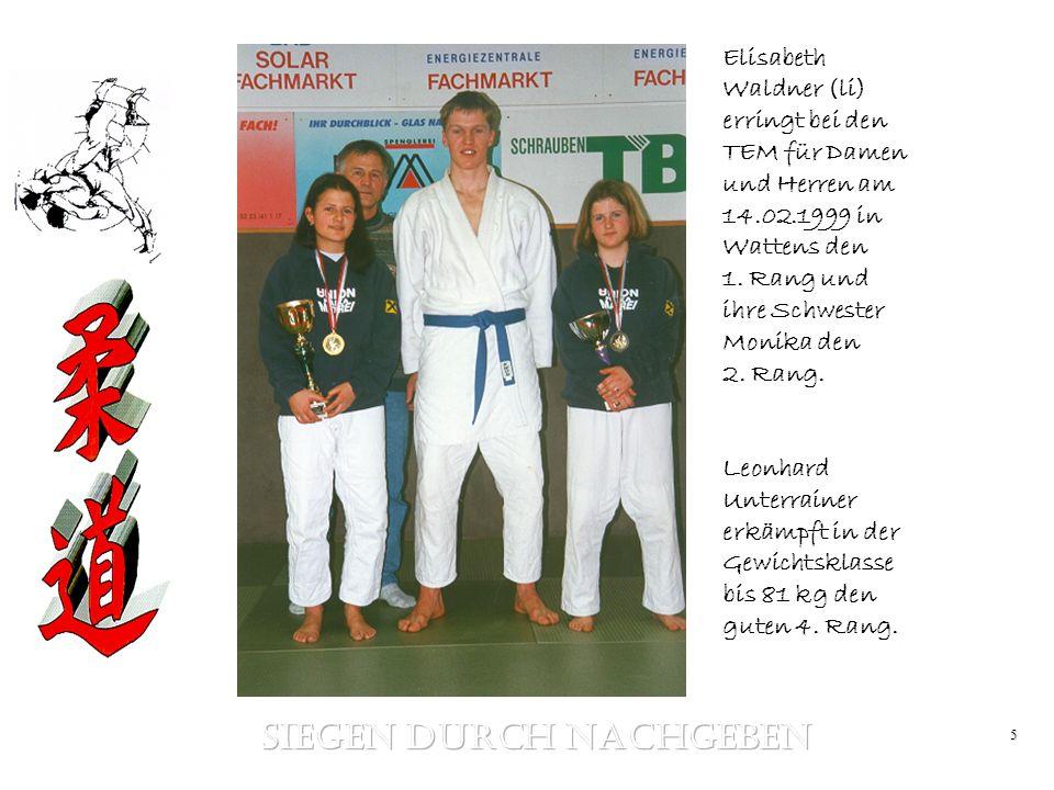5 Elisabeth Waldner (li) erringt bei den TEM für Damen und Herren am 14.02.1999 in Wattens den 1. Rang und ihre Schwester Monika den 2. Rang. Leonhard