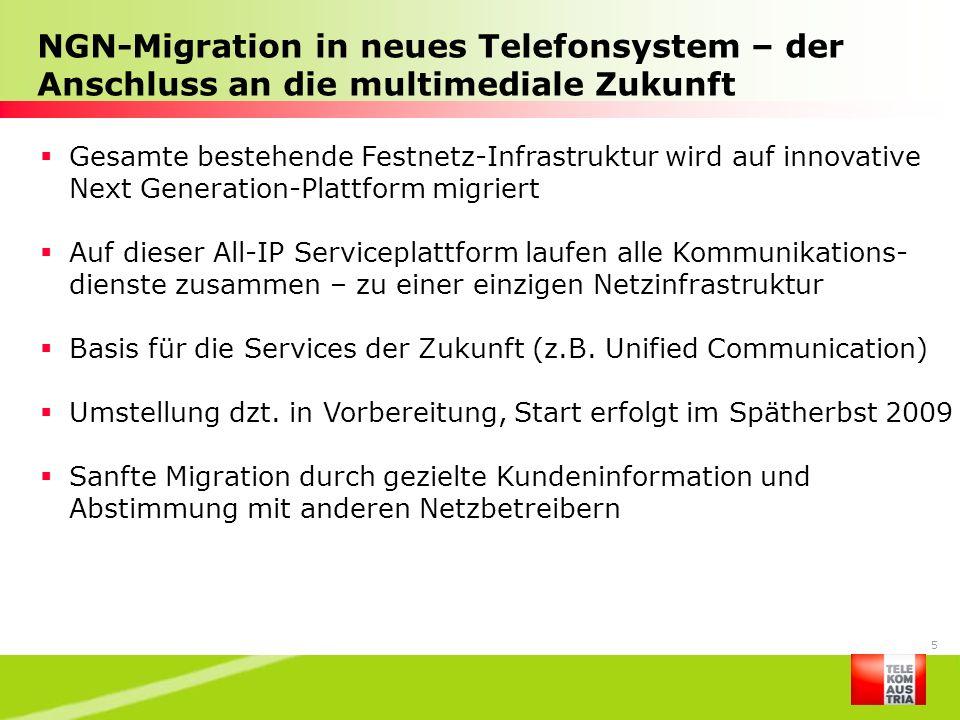 5 NGN-Migration in neues Telefonsystem – der Anschluss an die multimediale Zukunft Gesamte bestehende Festnetz-Infrastruktur wird auf innovative Next
