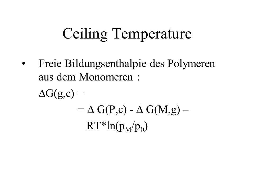 Ceiling Temperature Freie Bildungsenthalpie des Polymeren aus dem Monomeren : G(g,c) = = G(P,c) - G(M,g) – RT*ln(p M /p 0 )