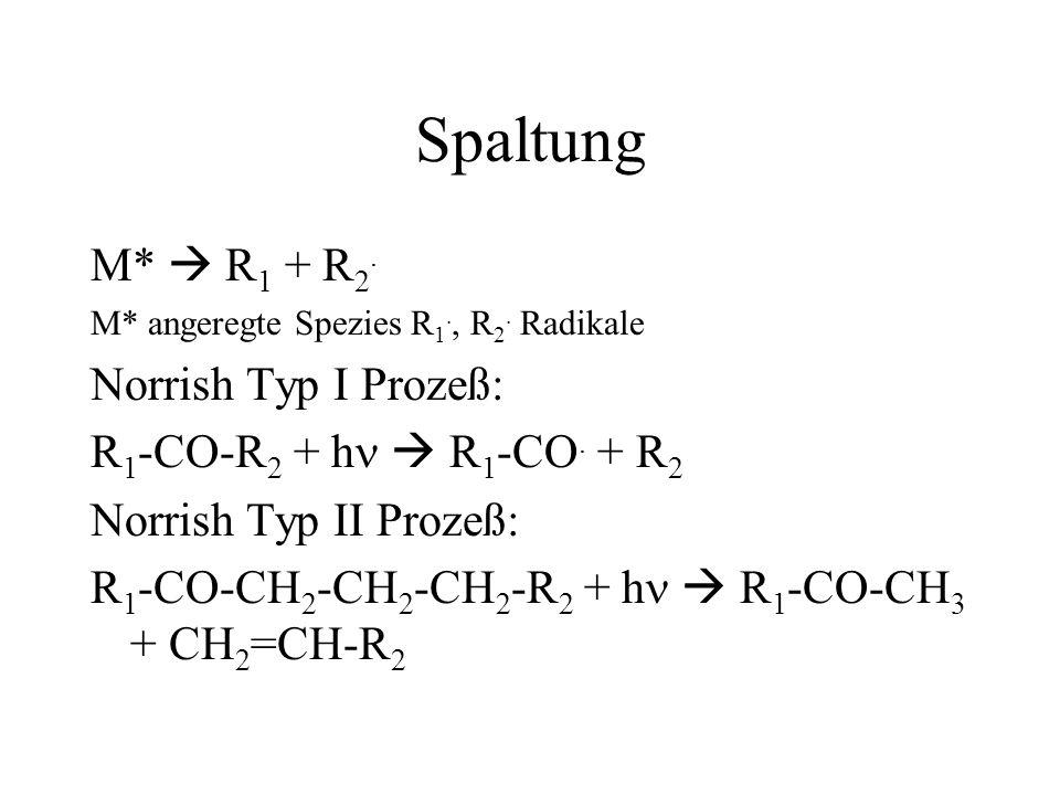 Spaltung M* R 1 + R 2. M* angeregte Spezies R 1., R 2. Radikale Norrish Typ I Prozeß: R 1 -CO-R 2 + h R 1 -CO. + R 2 Norrish Typ II Prozeß: R 1 -CO-CH