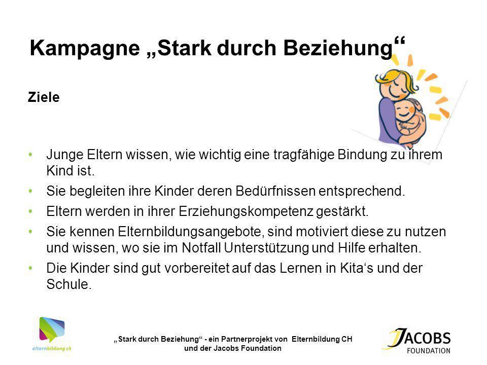 Stark durch Beziehung - ein Partnerprojekt von Elternbildung CH und der Jacobs Foundation Kampagne Stark durch Beziehung Ziele Junge Eltern wissen, wi