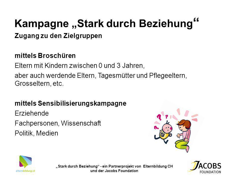 Kampagne Stark durch Beziehung Zugang zu den Zielgruppen mittels Broschüren Eltern mit Kindern zwischen 0 und 3 Jahren, aber auch werdende Eltern, Tag