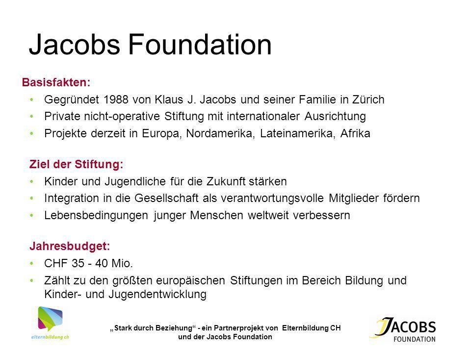 Stark durch Beziehung - ein Partnerprojekt von Elternbildung CH und der Jacobs Foundation Jacobs Foundation Basisfakten: Gegründet 1988 von Klaus J. J