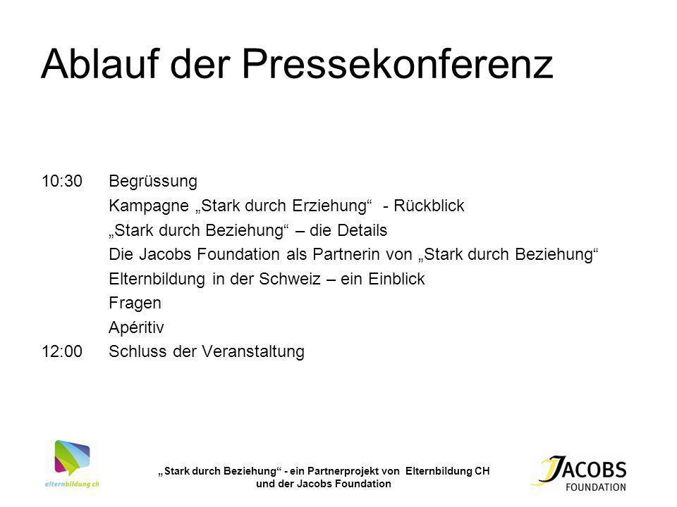 Ablauf der Pressekonferenz 10:30Begrüssung Kampagne Stark durch Erziehung - Rückblick Stark durch Beziehung – die Details Die Jacobs Foundation als Pa