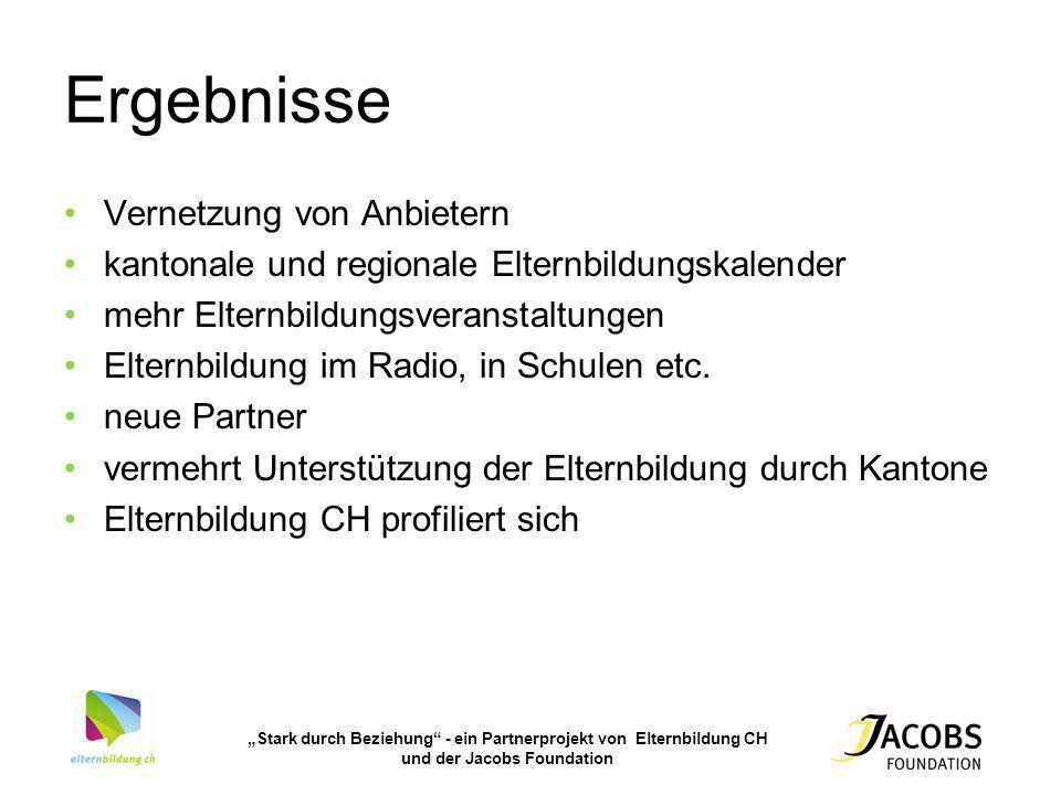 Stark durch Beziehung - ein Partnerprojekt von Elternbildung CH und der Jacobs Foundation Ergebnisse Vernetzung von Anbietern kantonale und regionale