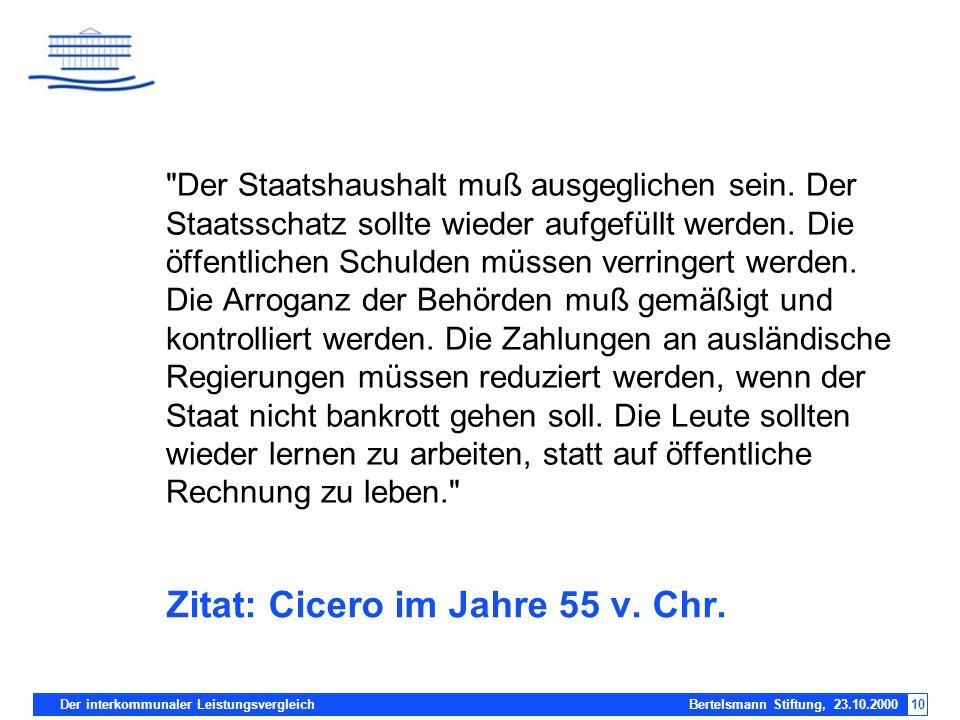 Der interkommunaler Leistungsvergleich Bertelsmann Stiftung, 23.10.200010 Zitat: Cicero im Jahre 55 v. Chr.
