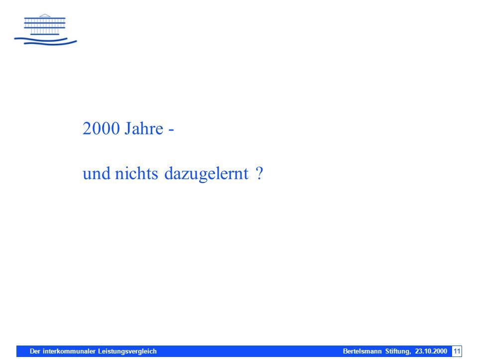 Der interkommunaler Leistungsvergleich Bertelsmann Stiftung, 23.10.200011 2000 Jahre - und nichts dazugelernt ?