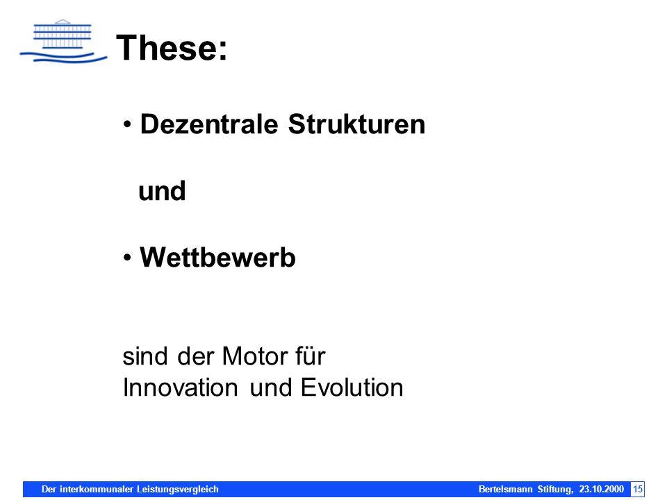 Der interkommunaler Leistungsvergleich Bertelsmann Stiftung, 23.10.200015 These: Dezentrale Strukturen und Wettbewerb sind der Motor für Innovation un