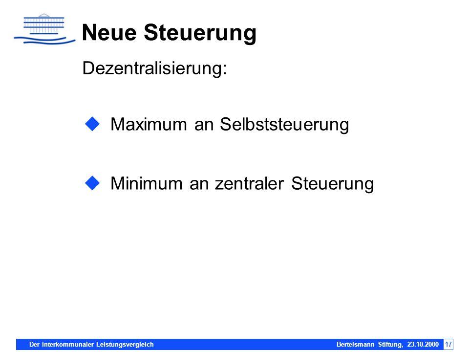 Der interkommunaler Leistungsvergleich Bertelsmann Stiftung, 23.10.200017 Maximum an Selbststeuerung Minimum an zentraler Steuerung Neue Steuerung Dez