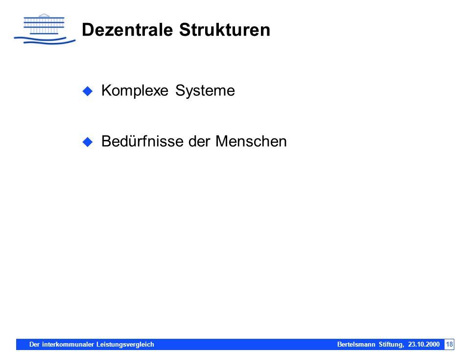 Der interkommunaler Leistungsvergleich Bertelsmann Stiftung, 23.10.200018 Dezentrale Strukturen Komplexe Systeme Bedürfnisse der Menschen