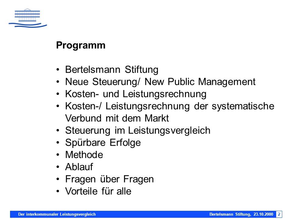 Der interkommunaler Leistungsvergleich Bertelsmann Stiftung, 23.10.20002 Programm Bertelsmann Stiftung Neue Steuerung/ New Public Management Kosten- u