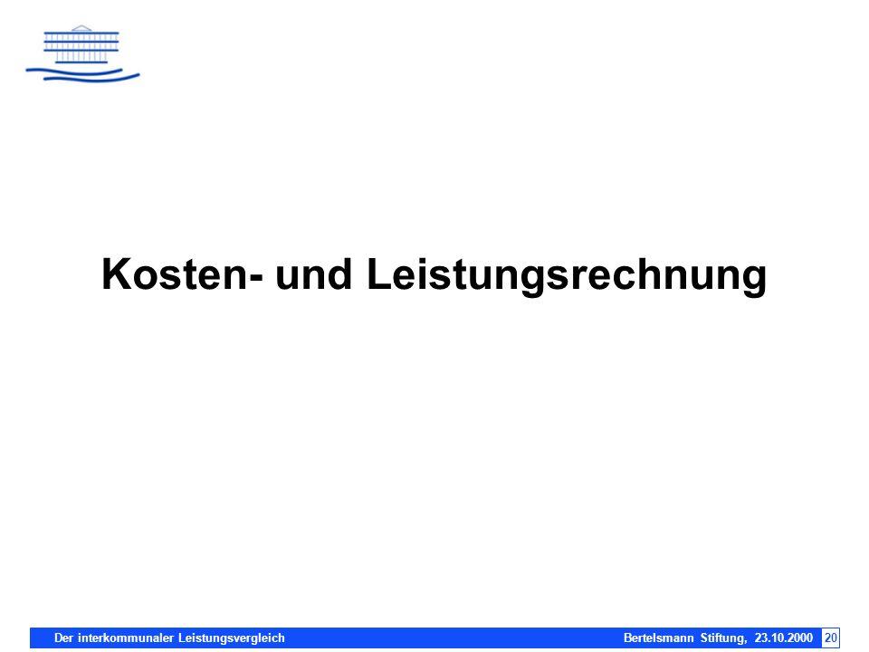 Der interkommunaler Leistungsvergleich Bertelsmann Stiftung, 23.10.200020 Kosten- und Leistungsrechnung