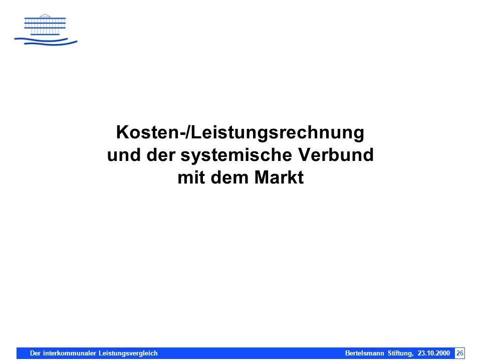 Der interkommunaler Leistungsvergleich Bertelsmann Stiftung, 23.10.200026 Kosten-/Leistungsrechnung und der systemische Verbund mit dem Markt