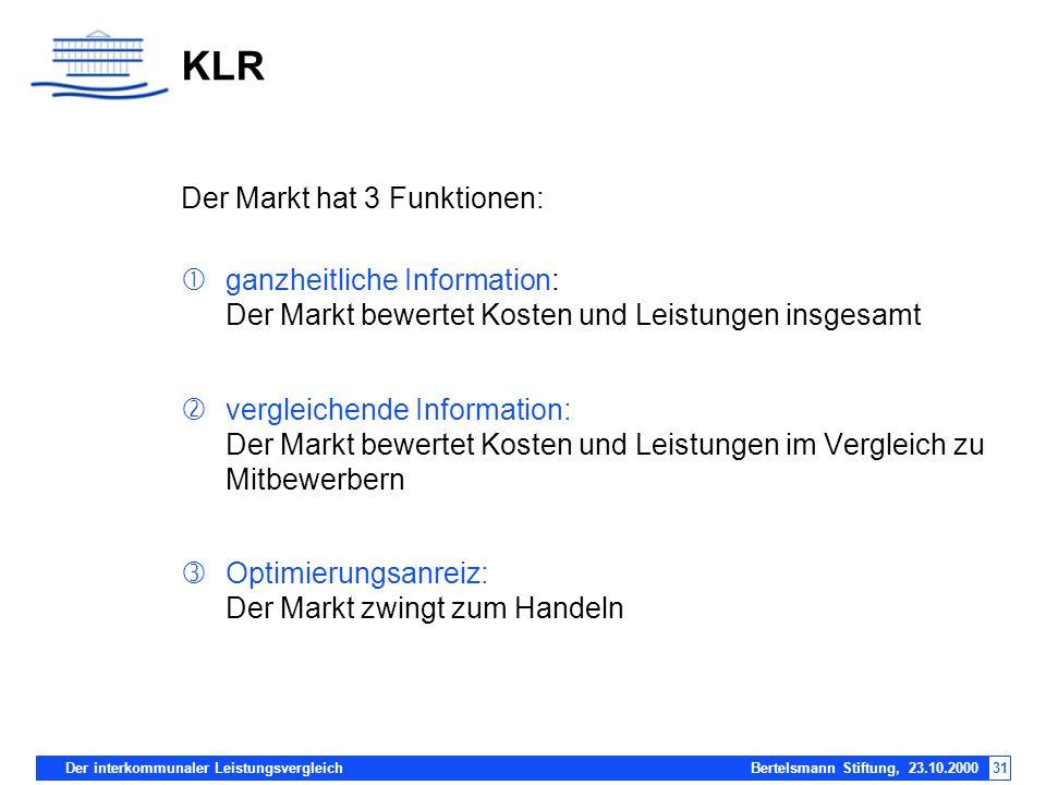 Der interkommunaler Leistungsvergleich Bertelsmann Stiftung, 23.10.200031 KLR Der Markt hat 3 Funktionen: ganzheitliche Information: Der Markt bewerte
