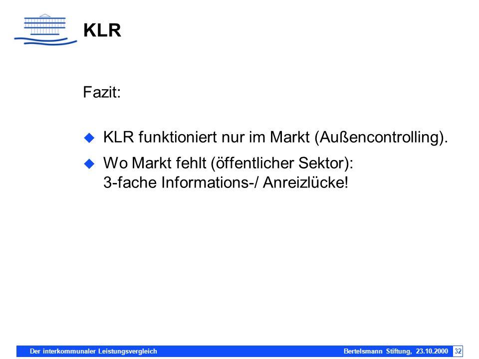 Der interkommunaler Leistungsvergleich Bertelsmann Stiftung, 23.10.200032 KLR Fazit: KLR funktioniert nur im Markt (Außencontrolling). Wo Markt fehlt