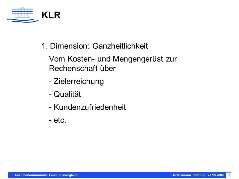 Der interkommunaler Leistungsvergleich Bertelsmann Stiftung, 23.10.200035 KLR 1. Dimension: Ganzheitlichkeit Vom Kosten- und Mengengerüst zur Rechensc