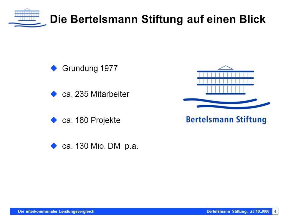 4 Die Bertelsmann Stiftung auf einen Blick Gründung 1977 ca. 235 Mitarbeiter ca. 180 Projekte ca. 130 Mio. DM p.a.