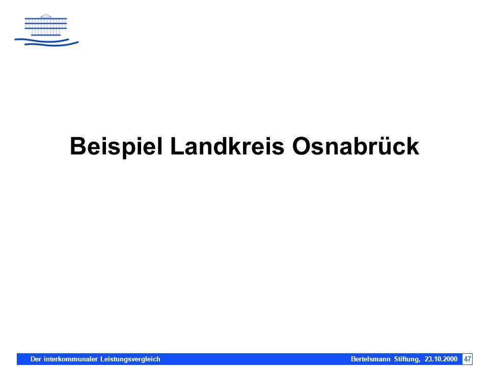 Der interkommunaler Leistungsvergleich Bertelsmann Stiftung, 23.10.200047 Beispiel Landkreis Osnabrück