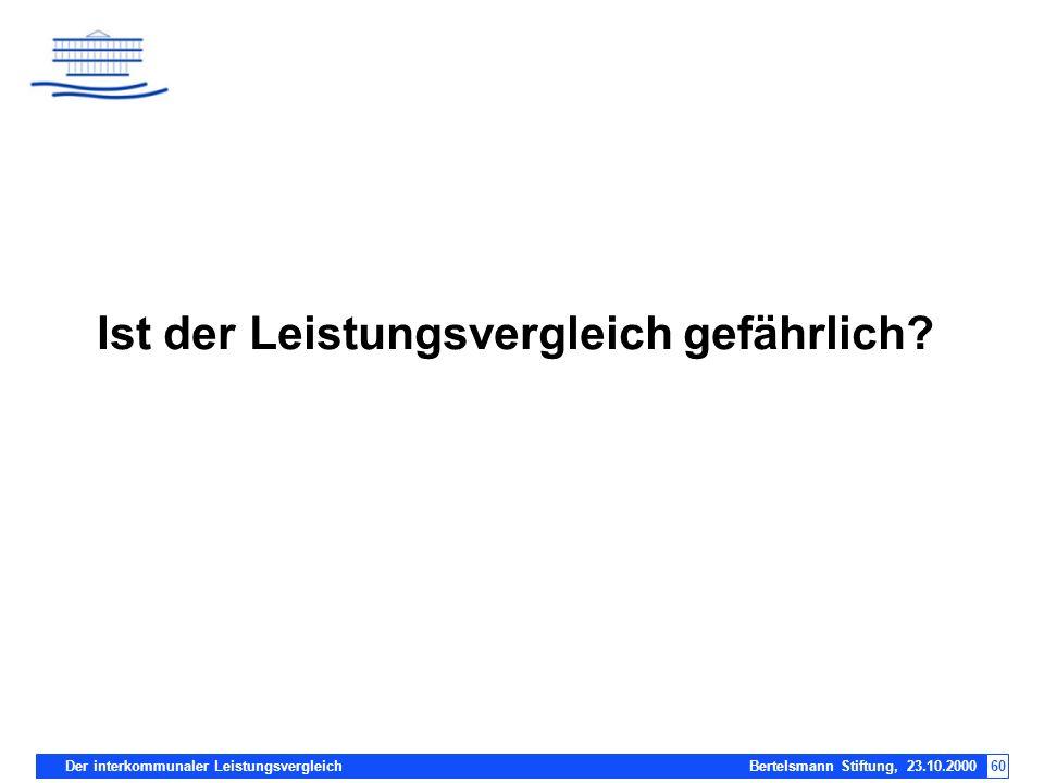 Der interkommunaler Leistungsvergleich Bertelsmann Stiftung, 23.10.200060 Ist der Leistungsvergleich gefährlich?