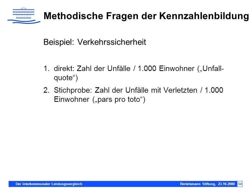 Der interkommunaler Leistungsvergleich Bertelsmann Stiftung, 23.10.200064 Methodische Fragen der Kennzahlenbildung Beispiel: Verkehrssicherheit 1.dire