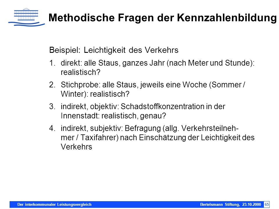 Der interkommunaler Leistungsvergleich Bertelsmann Stiftung, 23.10.200065 Methodische Fragen der Kennzahlenbildung Beispiel: Leichtigkeit des Verkehrs
