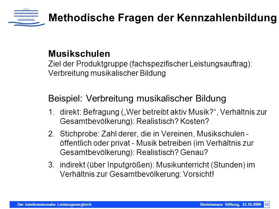 Der interkommunaler Leistungsvergleich Bertelsmann Stiftung, 23.10.200066 Methodische Fragen der Kennzahlenbildung Musikschulen Ziel der Produktgruppe