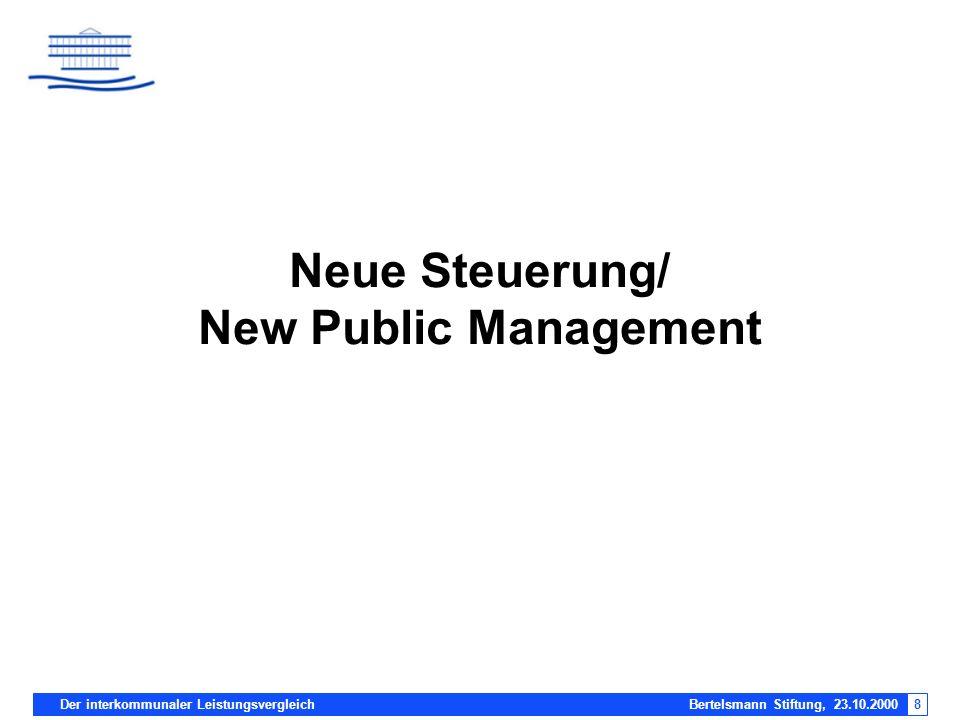 Der interkommunaler Leistungsvergleich Bertelsmann Stiftung, 23.10.20008 Neue Steuerung/ New Public Management