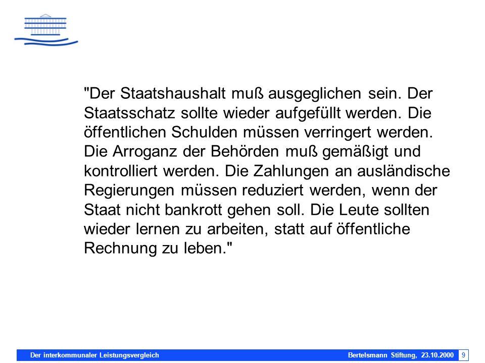 Der interkommunaler Leistungsvergleich Bertelsmann Stiftung, 23.10.20009