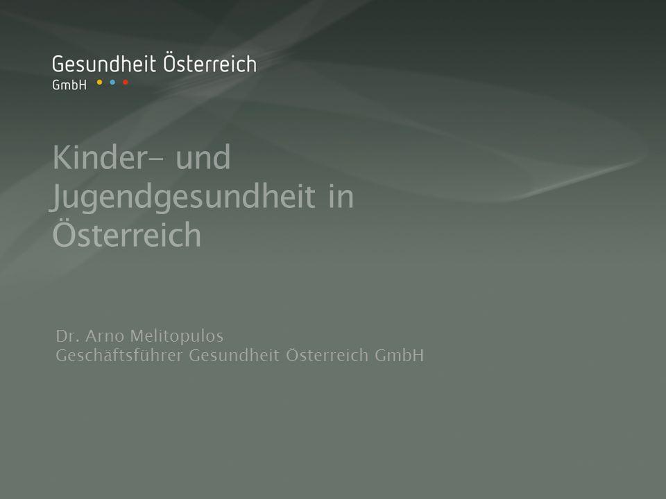 Kinder- und Jugendgesundheit in Österreich Dr. Arno Melitopulos Geschäftsführer Gesundheit Österreich GmbH