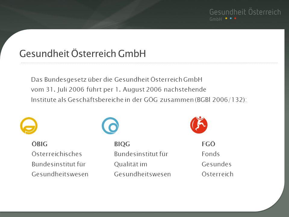 Das Bundesgesetz über die Gesundheit Österreich GmbH vom 31. Juli 2006 führt per 1. August 2006 nachstehende Institute als Geschäftsbereiche in der GÖ