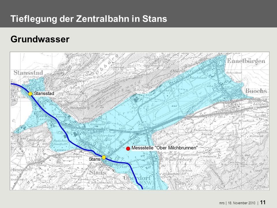 mrs 18. November 2010 11 Tieflegung der Zentralbahn in Stans Grundwasser