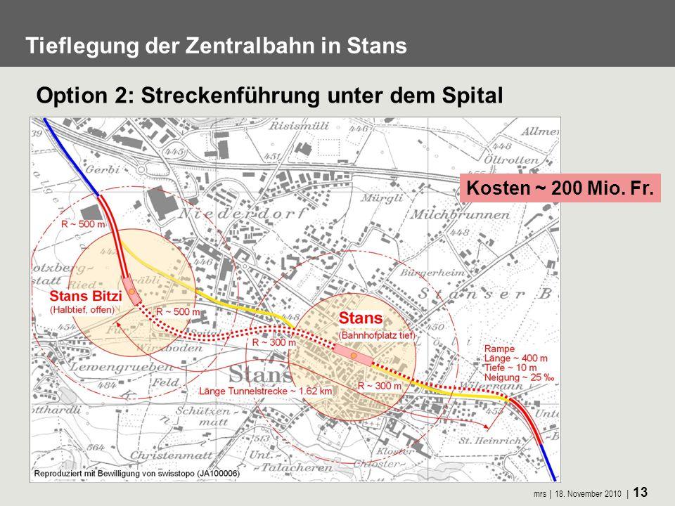 mrs 18. November 2010 13 Tieflegung der Zentralbahn in Stans Kosten ~ 200 Mio. Fr. Option 2: Streckenführung unter dem Spital