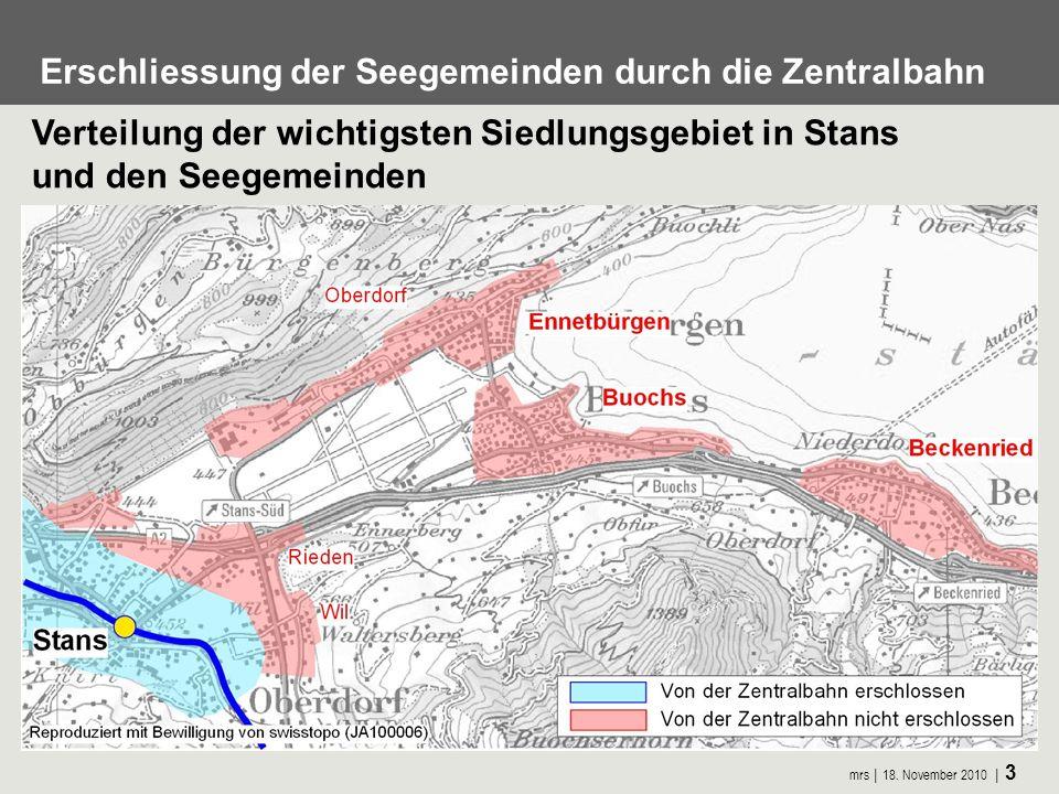 mrs 18. November 2010 3 Erschliessung der Seegemeinden durch die Zentralbahn Verteilung der wichtigsten Siedlungsgebiet in Stans und den Seegemeinden