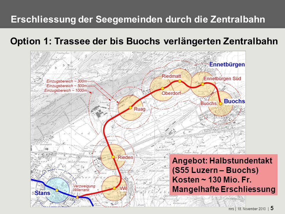 mrs 18. November 2010 5 Option 1: Trassee der bis Buochs verlängerten Zentralbahn Erschliessung der Seegemeinden durch die Zentralbahn Angebot: Halbst