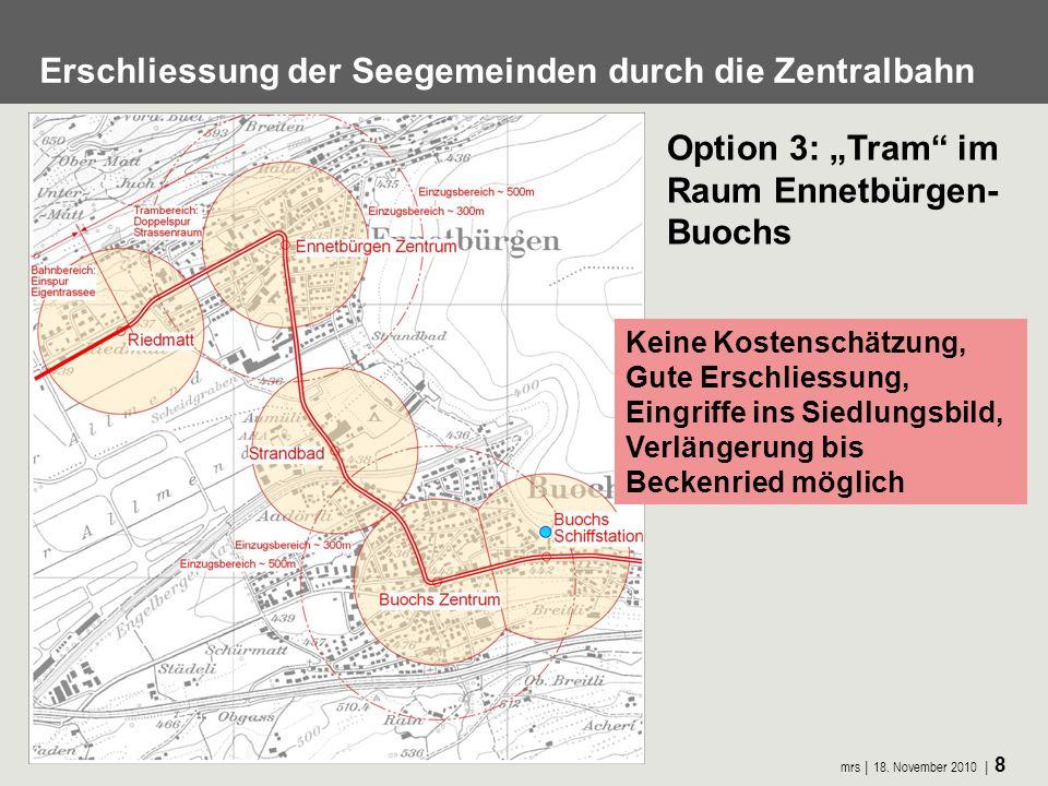 mrs 18. November 2010 8 Erschliessung der Seegemeinden durch die Zentralbahn Option 3: Tram im Raum Ennetbürgen- Buochs Keine Kostenschätzung, Gute Er