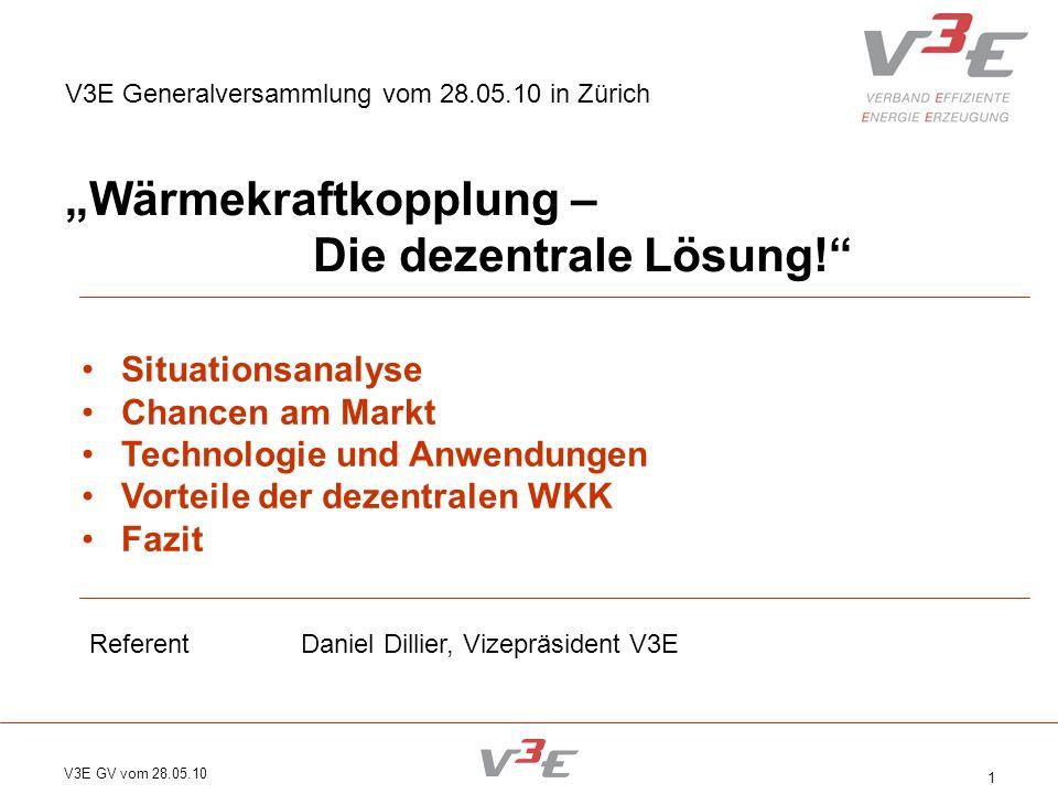 V3E GV vom 28.05.10 1 V3E Generalversammlung vom 28.05.10 in Zürich Wärmekraftkopplung – Die dezentrale Lösung! Situationsanalyse Chancen am Markt Tec