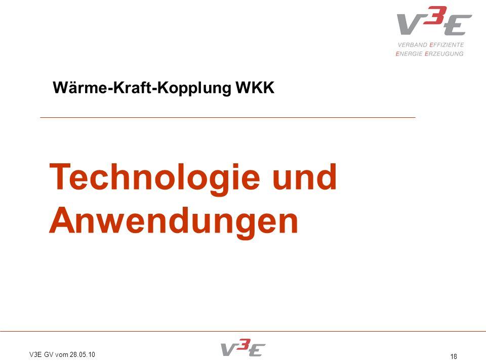 V3E GV vom 28.05.10 18 Wärme-Kraft-Kopplung WKK Technologie und Anwendungen