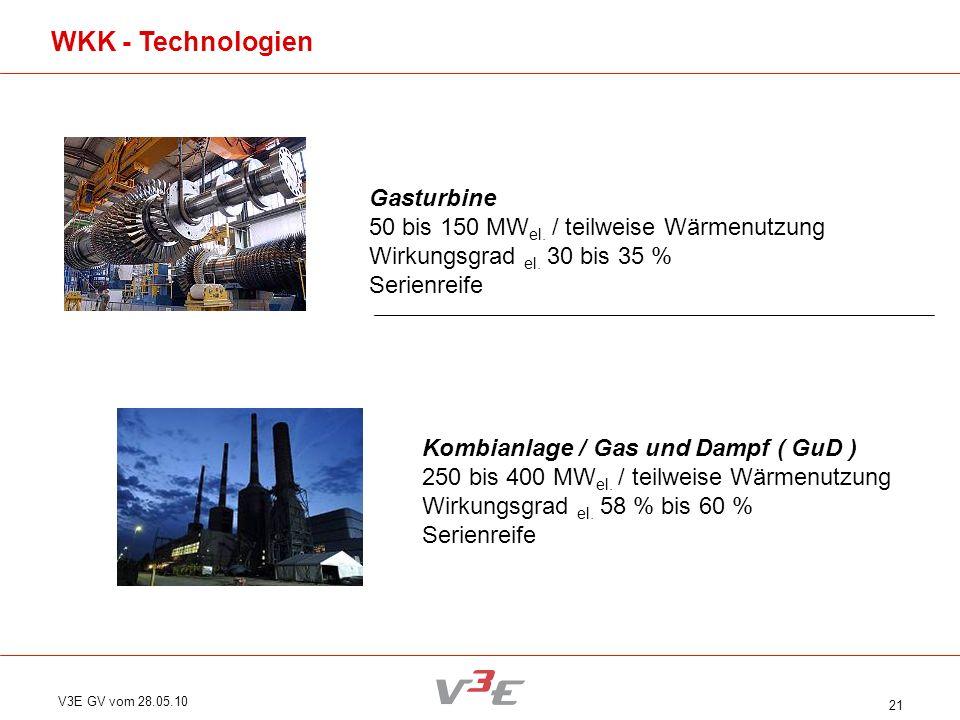 V3E GV vom 28.05.10 21 Gasturbine 50 bis 150 MW el. / teilweise Wärmenutzung Wirkungsgrad el. 30 bis 35 % Serienreife Kombianlage / Gas und Dampf ( Gu