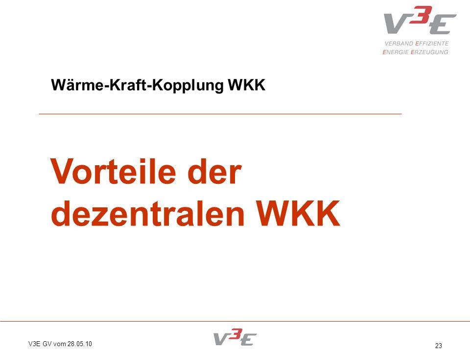 V3E GV vom 28.05.10 23 Wärme-Kraft-Kopplung WKK Vorteile der dezentralen WKK