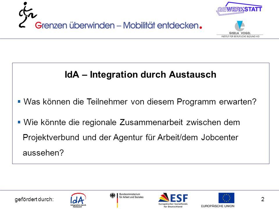 gefördert durch:3 IdA – Integration durch Austausch Zweiter Aufruf: Erhöhung der Beschäftigungschancen von Menschen mit Behinderung auf dem allgemeinen Arbeitsmarkt durch die Förderung transnationaler Mobilitätsvorhaben und transnationaler Expertenaustausche.