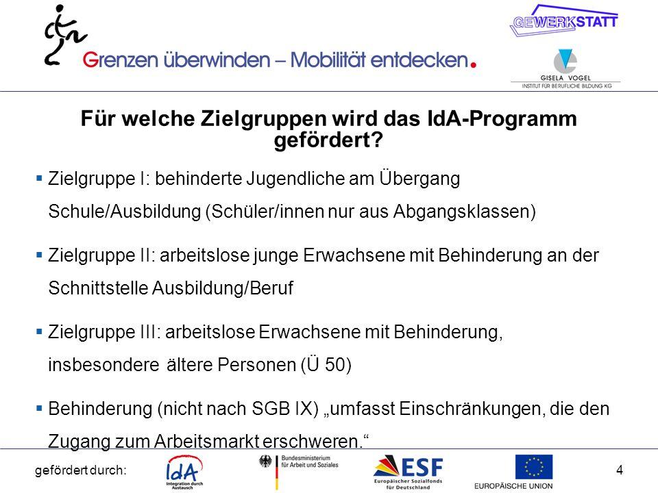 gefördert durch:5 Ziele des ESF-Programms IdA – Integration durch Austausch die Integrationschancen behinderter Jugendlicher in den Ausbildungsmarkt durch berufsvorbereitende Trainings, Kurzzeitqualifikationen und Praktika im EU-Ausland verbessern durch Praktika im EU-Ausland den Übergang von beruflicher Erstausbildung in Beschäftigung für junge arbeitslose Menschen mit Behinderung fördern durch Praktika im EU-Ausland die Arbeitsmarktintegration arbeitsloser Erwachsener mit Behinderung unterstützen