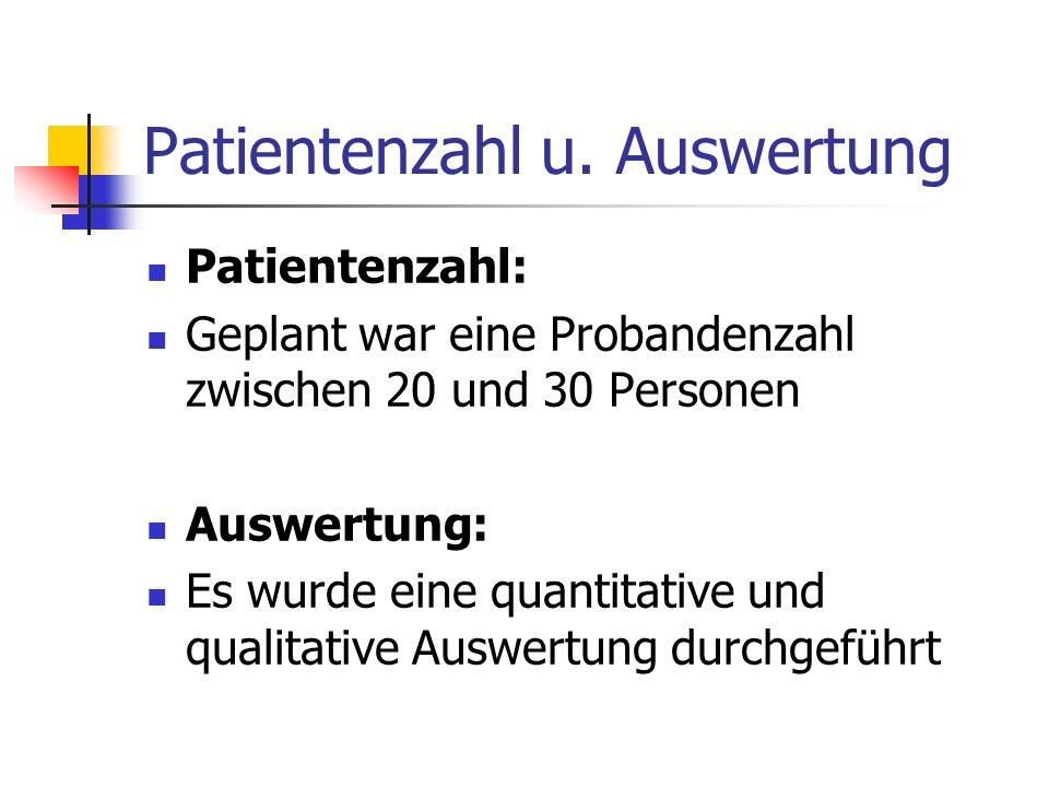 Patientenzahl u. Auswertung Patientenzahl: Geplant war eine Probandenzahl zwischen 20 und 30 Personen Auswertung: Es wurde eine quantitative und quali